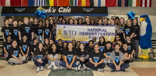 Skyview Middle School students holding AVID banner