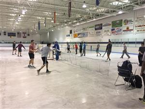Crazy weather this spring! Using hockey arena to practice.