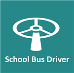 steering wheel with words: school bus driver