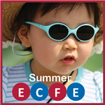 small child in sunglasses with words summer ECFE
