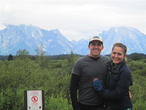 Mrs. Collins and her husband at Grand Tetons National Park